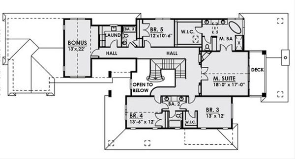 Traditional Floor Plan - Upper Floor Plan Plan #1066-19