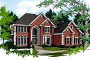 European Style House Plan - 5 Beds 4 Baths 3500 Sq/Ft Plan #56-225 Exterior - Front Elevation