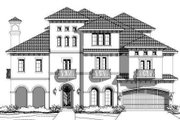 European Style House Plan - 4 Beds 3.5 Baths 5502 Sq/Ft Plan #411-656 Exterior - Front Elevation