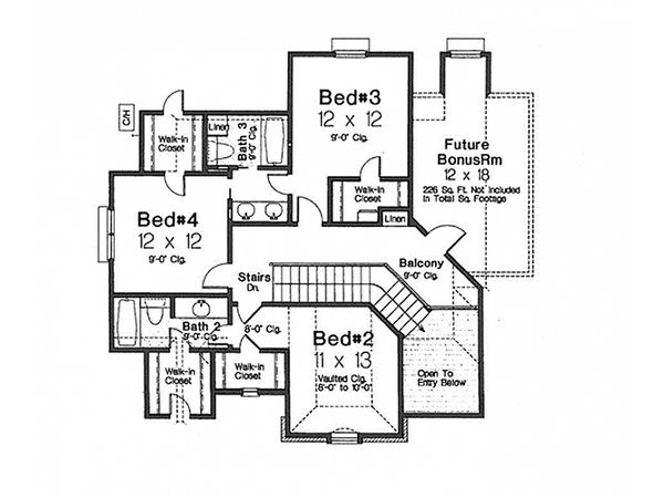 European Floor Plan - Upper Floor Plan Plan #310-992