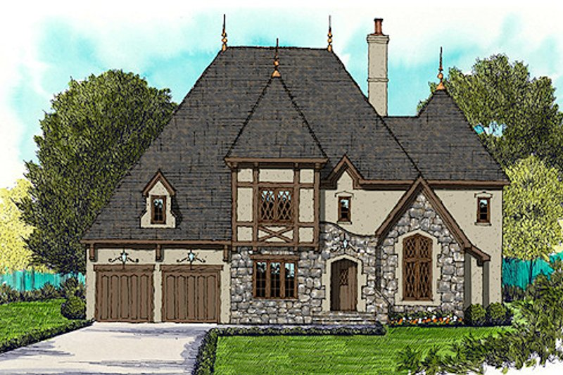 European Exterior - Front Elevation Plan #413-891