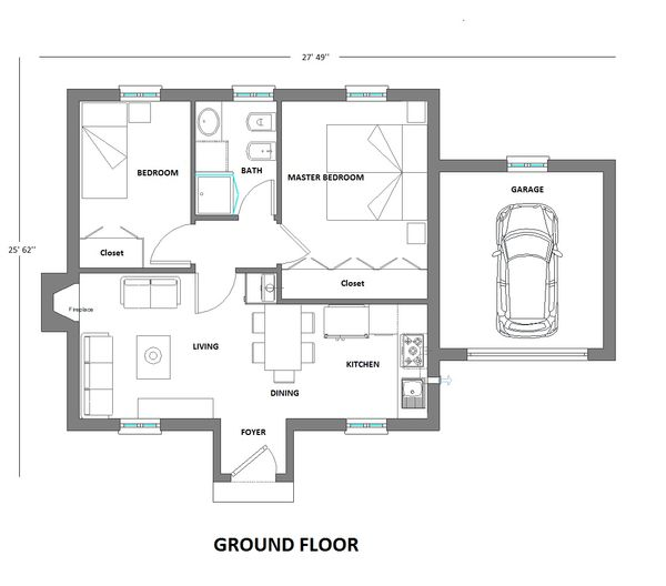 European Floor Plan - Main Floor Plan Plan #542-6