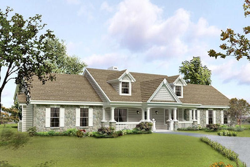 Dream House Plan - Farmhouse Exterior - Front Elevation Plan #57-373