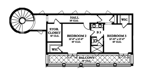 Mediterranean Floor Plan - Upper Floor Plan Plan #1058-10