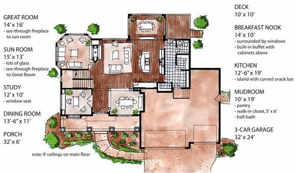 Country Floor Plan - Main Floor Plan Plan #320-1474