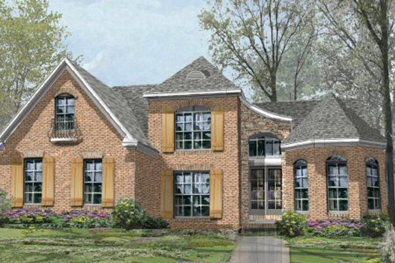 European Style House Plan - 4 Beds 3 Baths 3201 Sq/Ft Plan #424-318 Exterior - Front Elevation