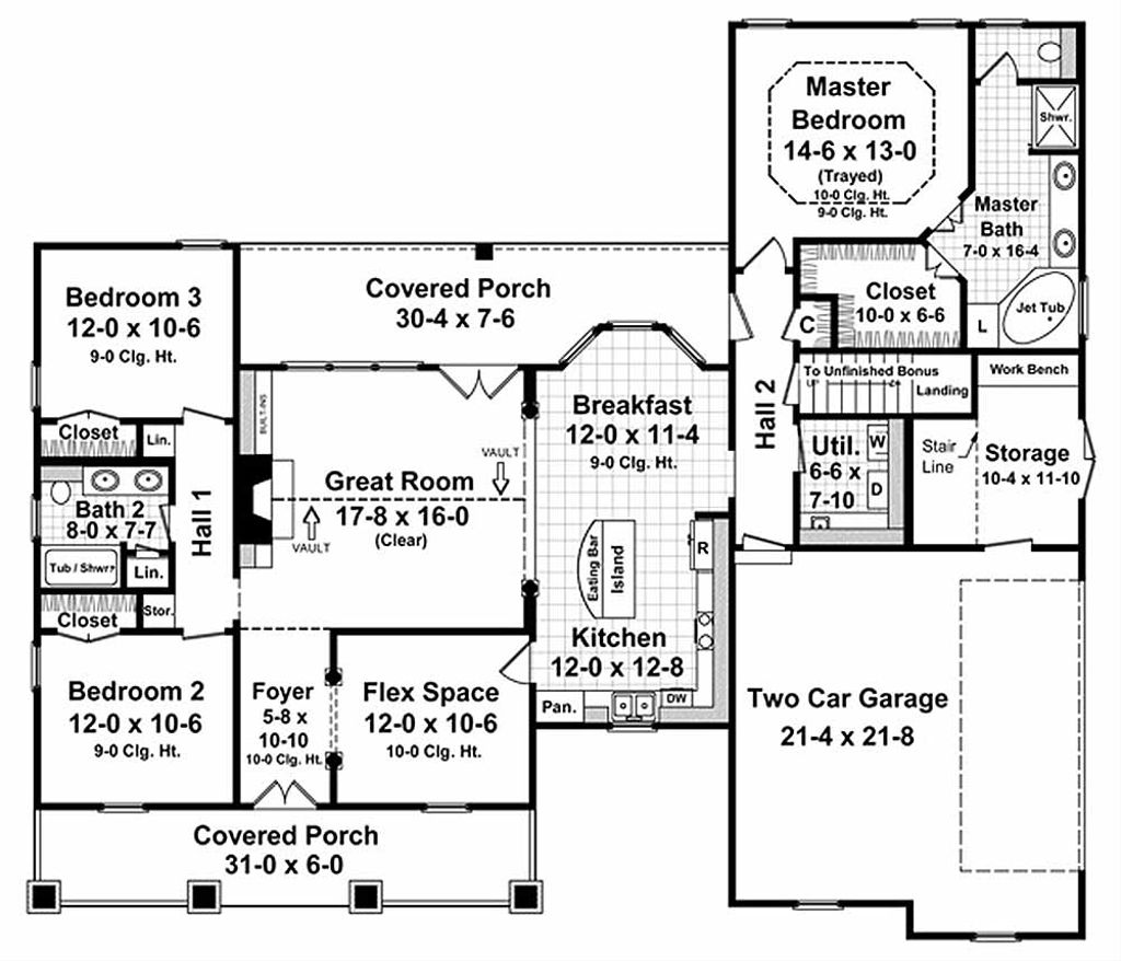 Country Style House Plan - 3 Beds 2 Baths 1800 Sq/Ft Plan #21-190 on