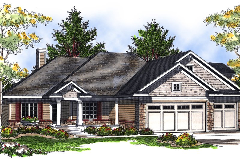 Traditional Exterior - Front Elevation Plan #70-698 - Houseplans.com