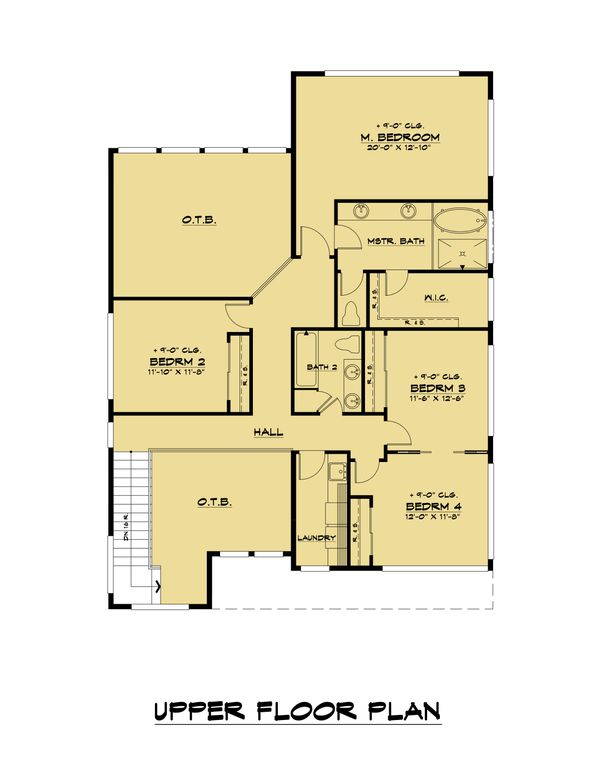 Modern Floor Plan - Upper Floor Plan Plan #1066-109