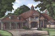 European Style House Plan - 4 Beds 4 Baths 4379 Sq/Ft Plan #115-171 Exterior - Front Elevation