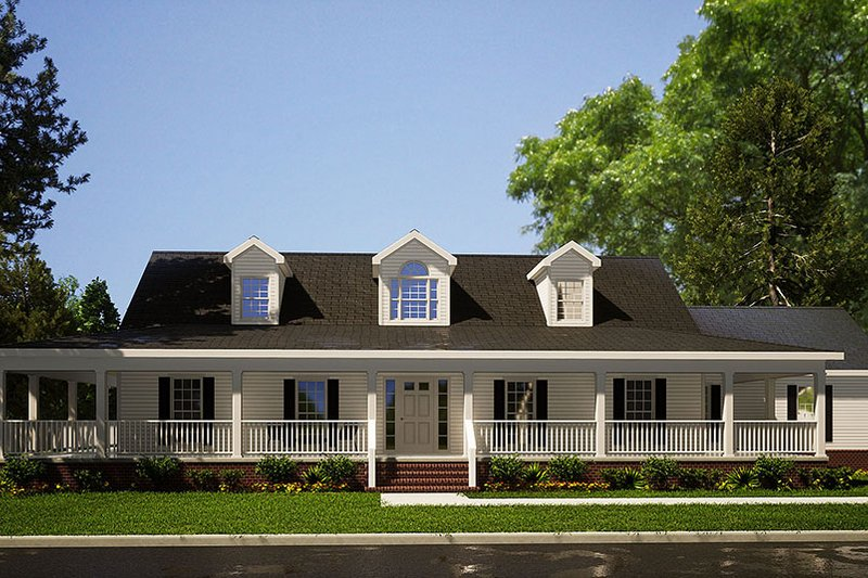 Architectural House Design - Country Exterior - Front Elevation Plan #17-235