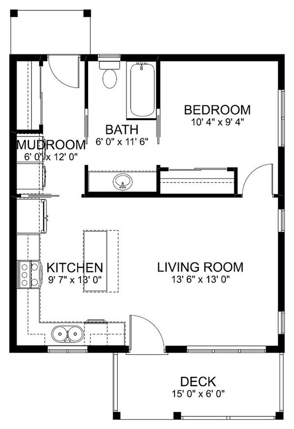 Cottage Floor Plan - Main Floor Plan Plan #126-178