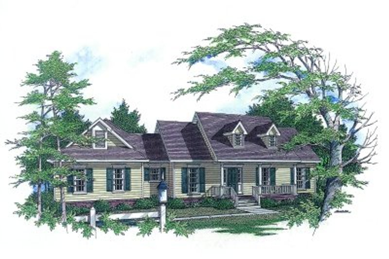 Traditional Style House Plan - 3 Beds 2 Baths 1771 Sq/Ft Plan #14-117 Exterior - Front Elevation