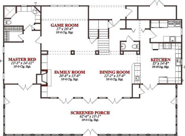 Cabin Floor Plan - Main Floor Plan #63-303