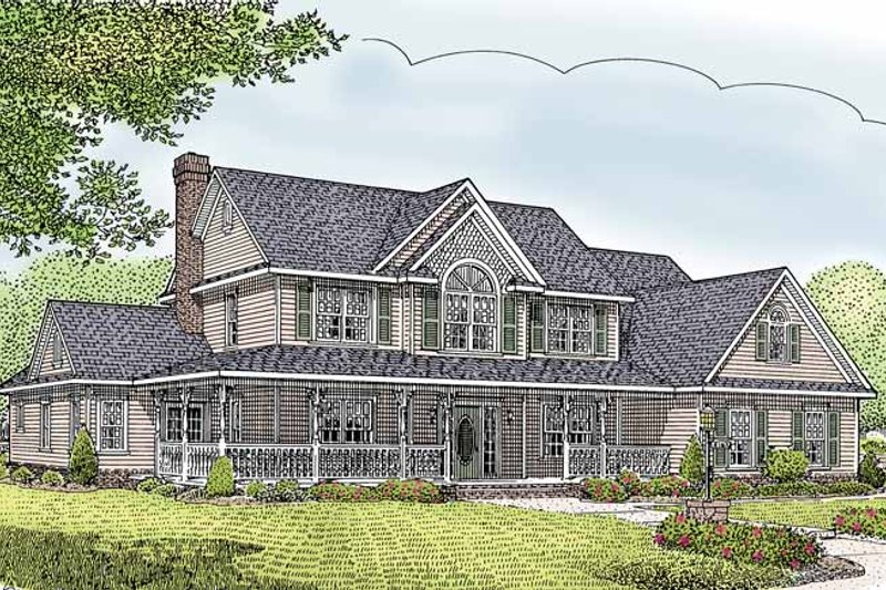 Architectural House Design - Country Exterior - Front Elevation Plan #11-269