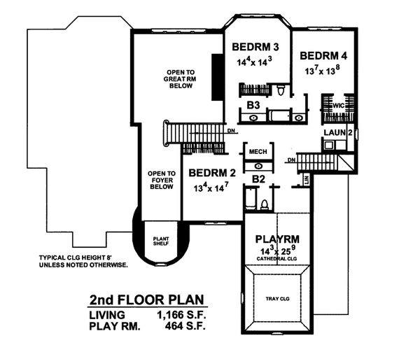 House Plan Design - European Floor Plan - Upper Floor Plan #20-2301