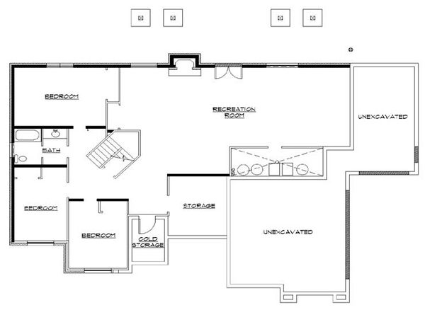Architectural House Design - Traditional Floor Plan - Lower Floor Plan #5-283