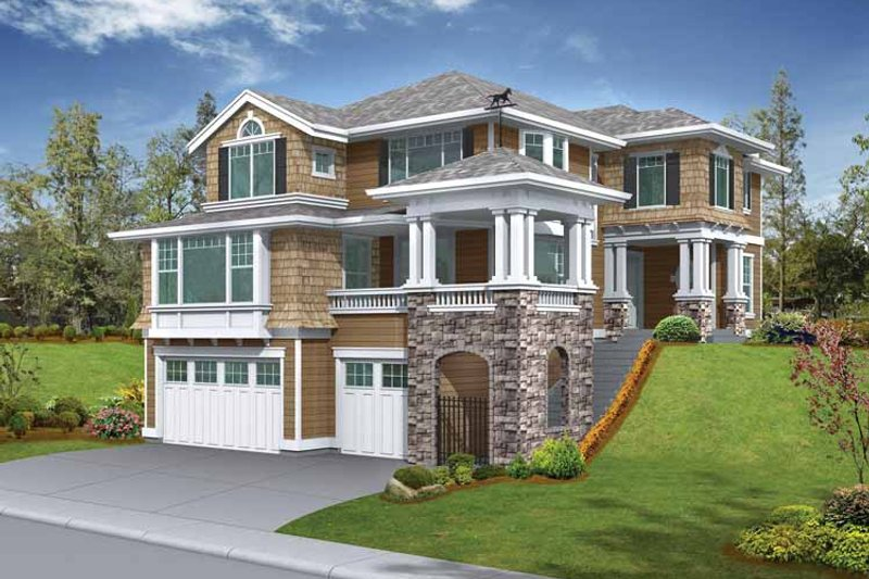 Architectural House Design - Craftsman Exterior - Front Elevation Plan #132-245