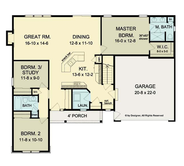 Ranch Floor Plan - Main Floor Plan Plan #1010-30