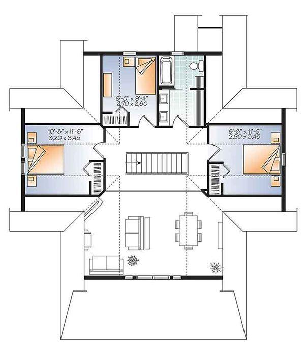 Traditional Floor Plan - Upper Floor Plan Plan #23-2609