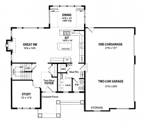 House Plan Design - Traditional Floor Plan - Main Floor Plan #316-289