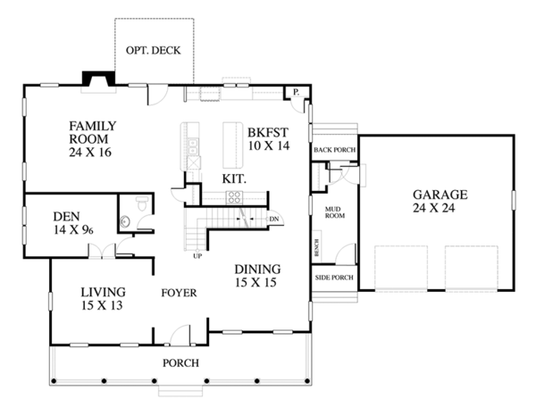 Traditional Floor Plan - Main Floor Plan Plan #1053-59