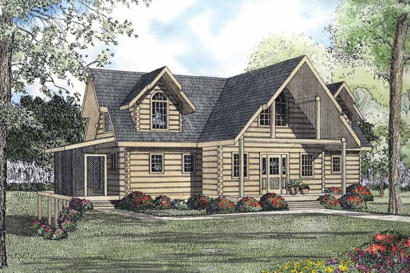 Log Exterior - Front Elevation Plan #17-3193