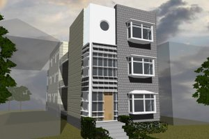 Contemporary Exterior - Front Elevation Plan #535-19