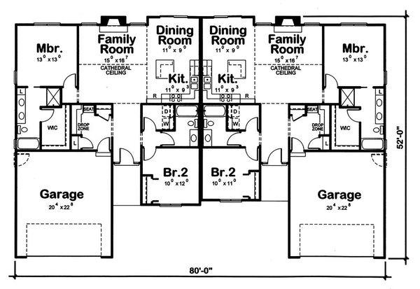 Home Plan - Traditional Floor Plan - Main Floor Plan #20-2381