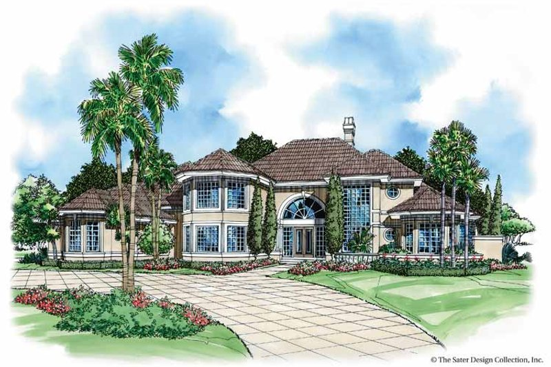 Mediterranean Style House Plan - 5 Beds 6.5 Baths 6312 Sq/Ft Plan #930-37 Exterior - Front Elevation