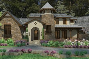 Cottage Exterior - Front Elevation Plan #120-244