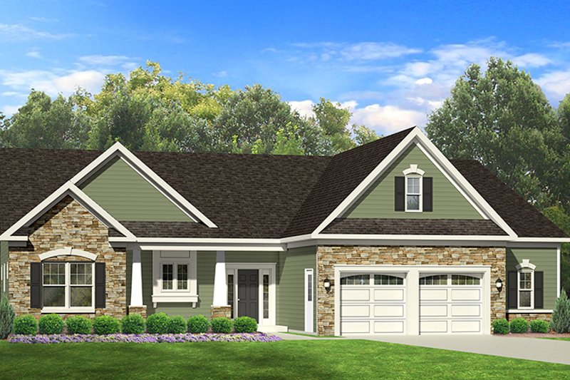 Ranch Style House Plan - 3 Beds 2 Baths 1598 Sq/Ft Plan #1010-68 Exterior - Front Elevation
