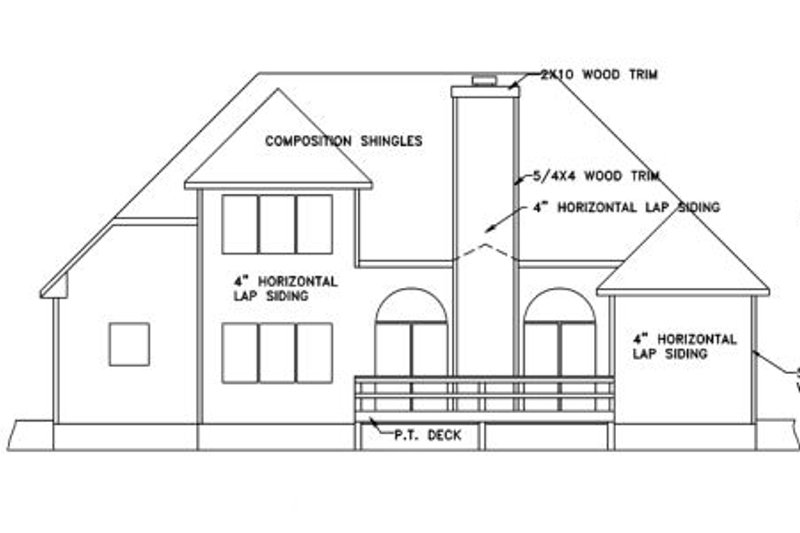 European Exterior - Rear Elevation Plan #56-144 - Houseplans.com