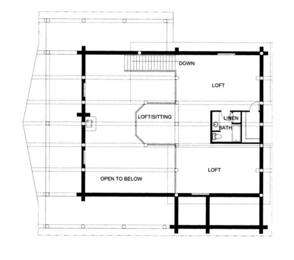 Log Floor Plan - Upper Floor Plan Plan #117-826