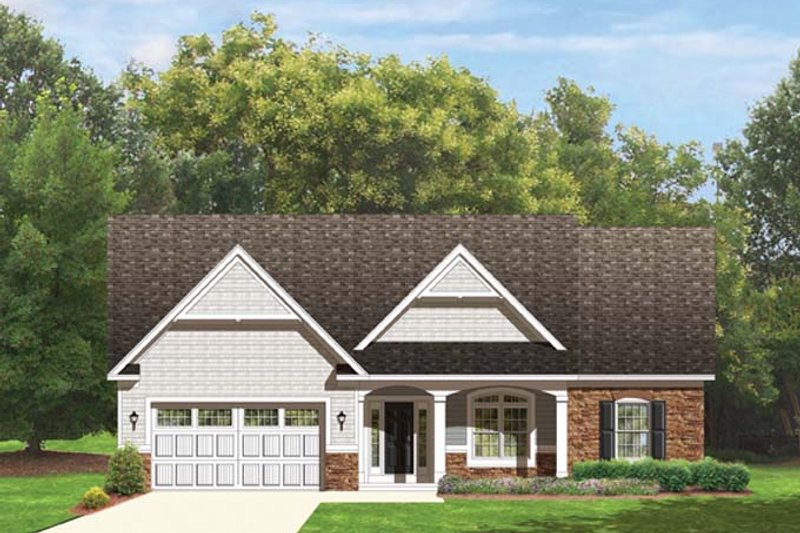 Ranch Exterior - Front Elevation Plan #1010-42