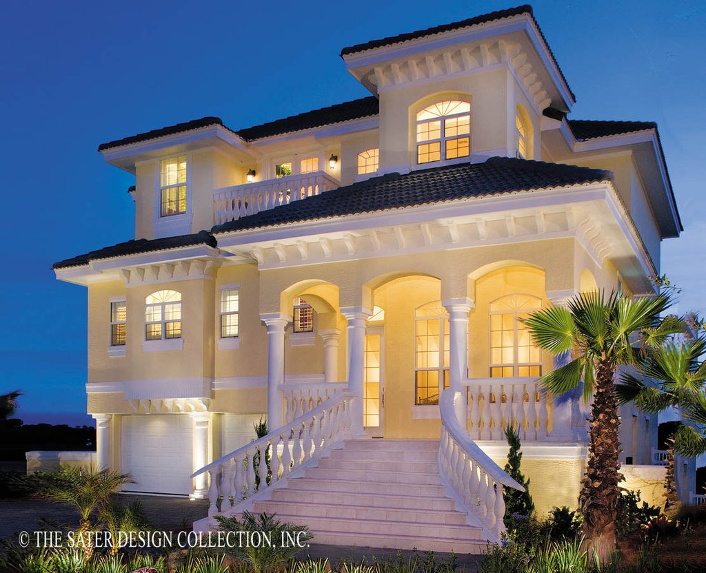 The Sater Design Collection mediterranean style house plan - 3 beds 3.5 baths 2374 sq/ft plan #930-16