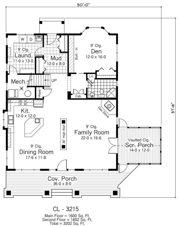 Farmhouse Floor Plan - Main Floor Plan Plan #51-306