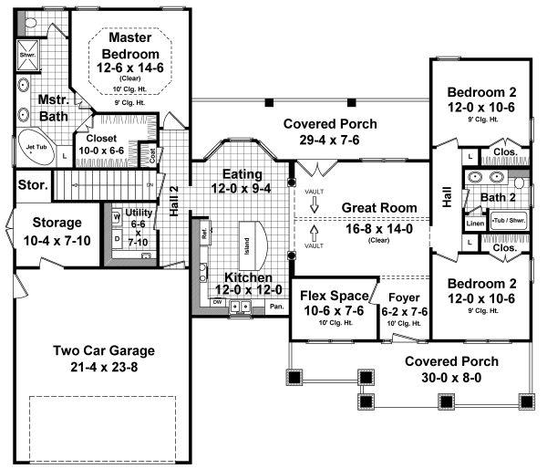 Dream House Plan - Country Floor Plan - Main Floor Plan #21-459