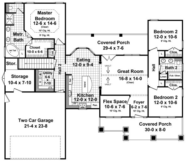 Dream House Plan - Country Floor Plan - Main Floor Plan #21-459