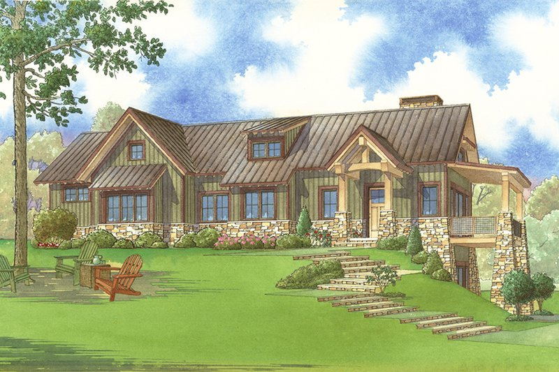 Architectural House Design - Craftsman Exterior - Front Elevation Plan #923-73