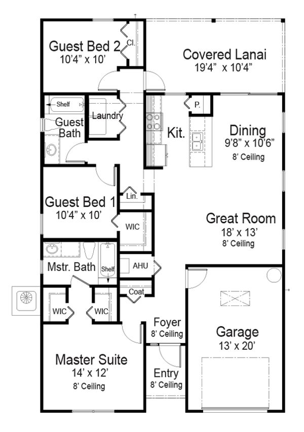 Southern Floor Plan - Main Floor Plan Plan #938-104