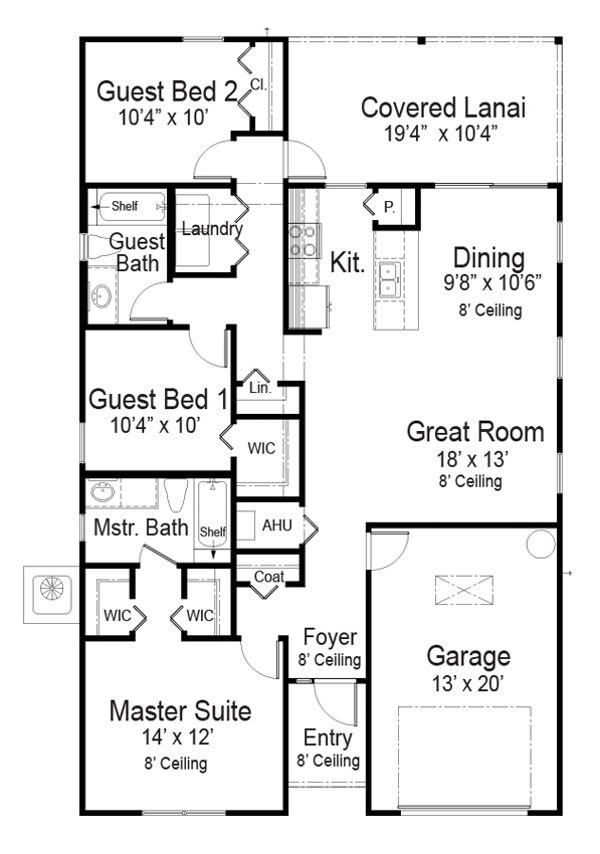 House Plan Design - Southern Floor Plan - Main Floor Plan #938-104