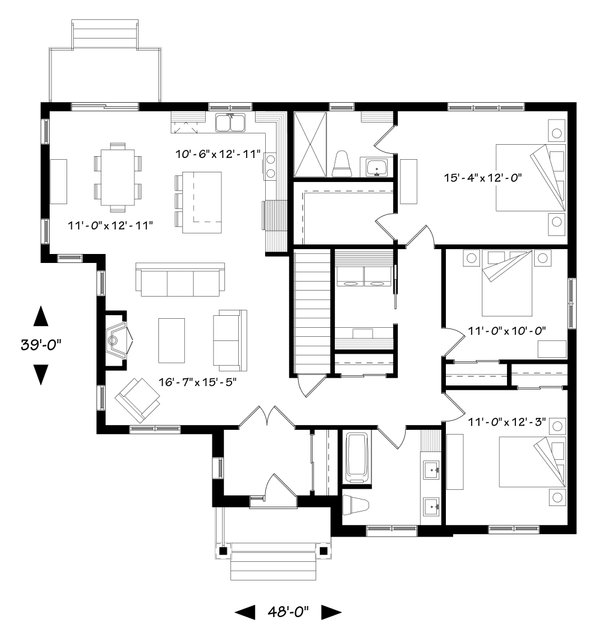 Craftsman Floor Plan - Main Floor Plan Plan #23-2667