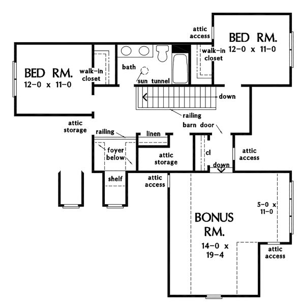 Cottage Floor Plan - Upper Floor Plan Plan #929-1104