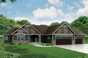 Ranch Exterior - Front Elevation Plan #124-974