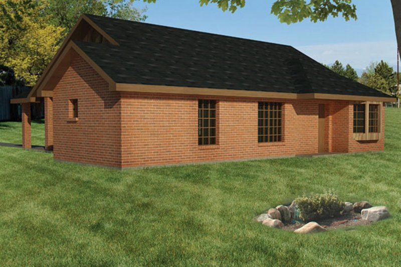Ranch Exterior - Rear Elevation Plan #1061-27 - Houseplans.com