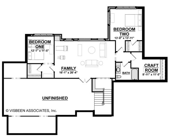 Craftsman Floor Plan - Lower Floor Plan #928-266
