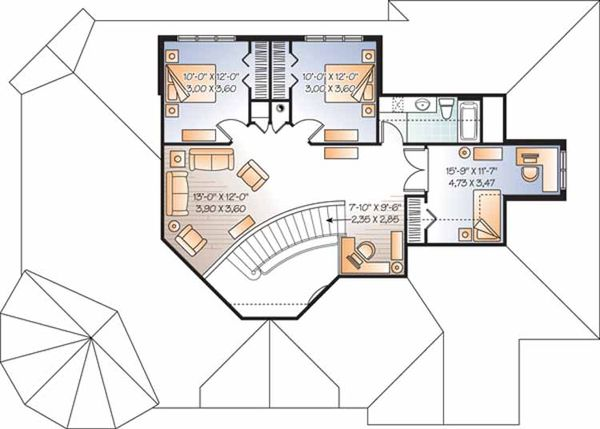 European Floor Plan - Upper Floor Plan Plan #23-2472