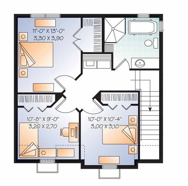 European Floor Plan - Upper Floor Plan Plan #23-2504