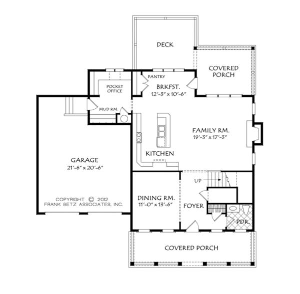 Architectural House Design - Colonial Floor Plan - Main Floor Plan #927-956